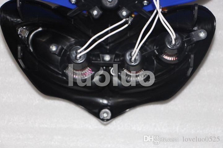 Motocicleta LED Farol duplo esporte para xr 400 650 crf230 super moto bicicleta da sujeira azul