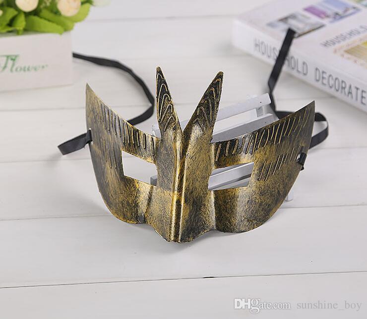 Hombre Antigua Roma Sir Retro Máscara Swallowtail Diseño Square Eye Party Mask Máscara de Halloween Masquerade para hombre Cosplay Props /