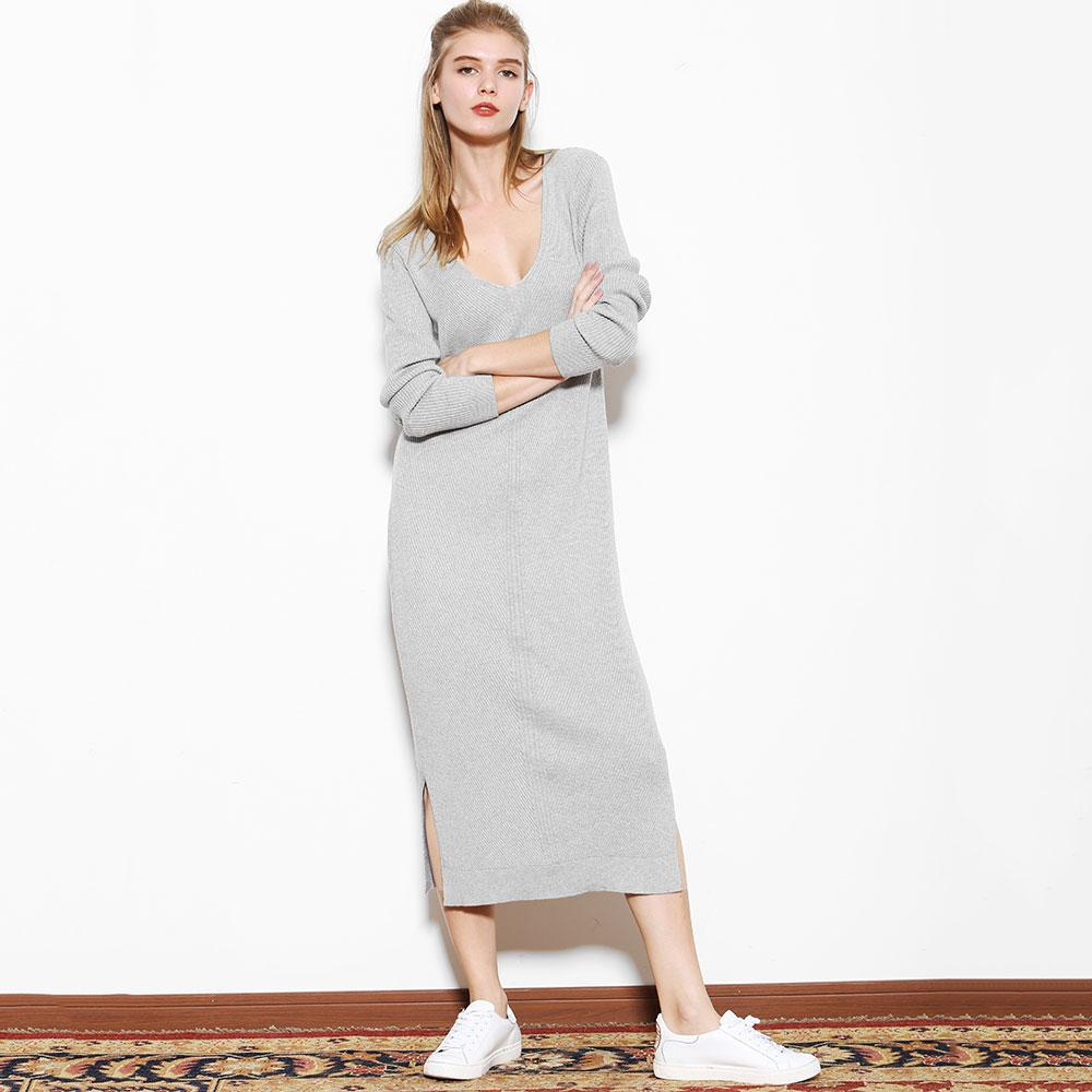 Cotton Silk Blend Sweater Dress V Neck Simple Knit Long Dress 701 ...