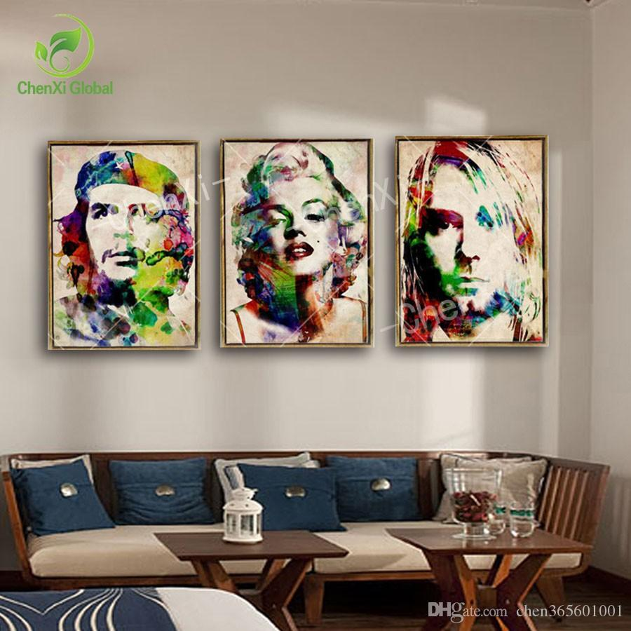 wall portraits living rooms. 3 Panel Abstract Portrait Marilyn Monroe Pop Art Painting Poster Cuadros  Canvas Wall Picture For Living Room Unframed Discount 2018