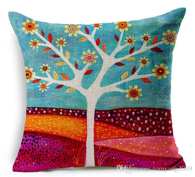 180g naturale caso di cuscino vegetale dipinto a mano scenario pittura ad olio verde alberi fiori uccello federa casa arredamento divano copertura del cuscino 17.7 pollici