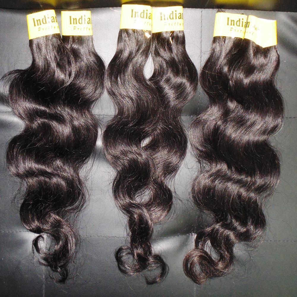 حار بيع تصفيفة الشعر معالجته الهندية الإنسان متموج الشعر لحمة حزم 7 قطعة / الوحدة اللون الطبيعي الجسم موجة سريعة شحن مجاني