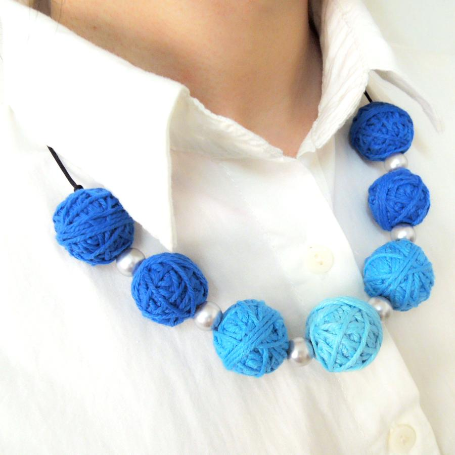 25mm crocheted beads necklace statement chunky Fade Blue turquoise special necklace WN06