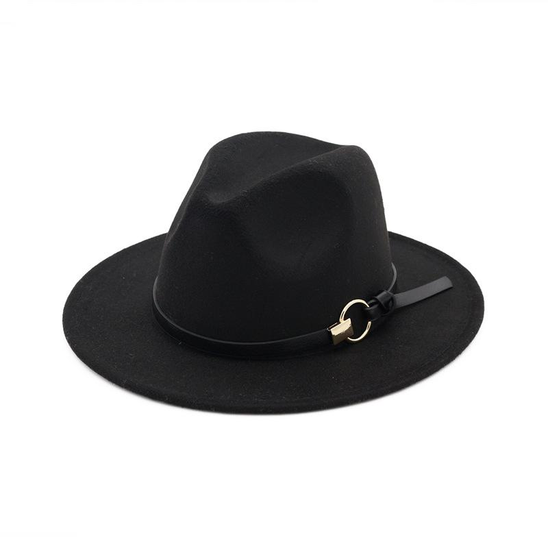 2d39861d2a3 Autumn Winter Hats Caps For Women Fshion Lady Fedora Hat With Metal Ring  Belt Female Flat Wide Brim Jazz Caps Felt Trilby GH 222 Cloche Hat Cool Hats  From ...