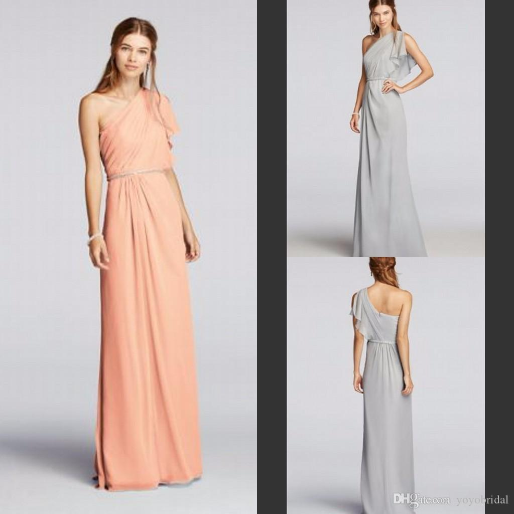 One shoulder bridesmaid dresses chiffon bridesmaid dress long one shoulder bridesmaid dresses chiffon bridesmaid dress long ruffles low price formal prom gowns evening dress party gown short sleeve new burnt orange ombrellifo Images
