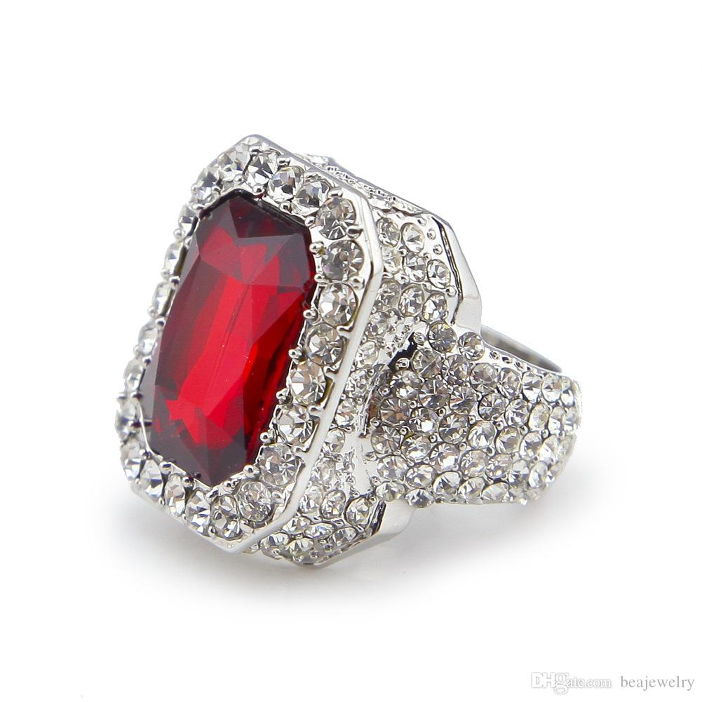 New Men's Rhodium Plated Red Blue Black Green Ruby Ring Hip Hop Men Ring Famous Brand Iced Out Micro Pave Cz Ring