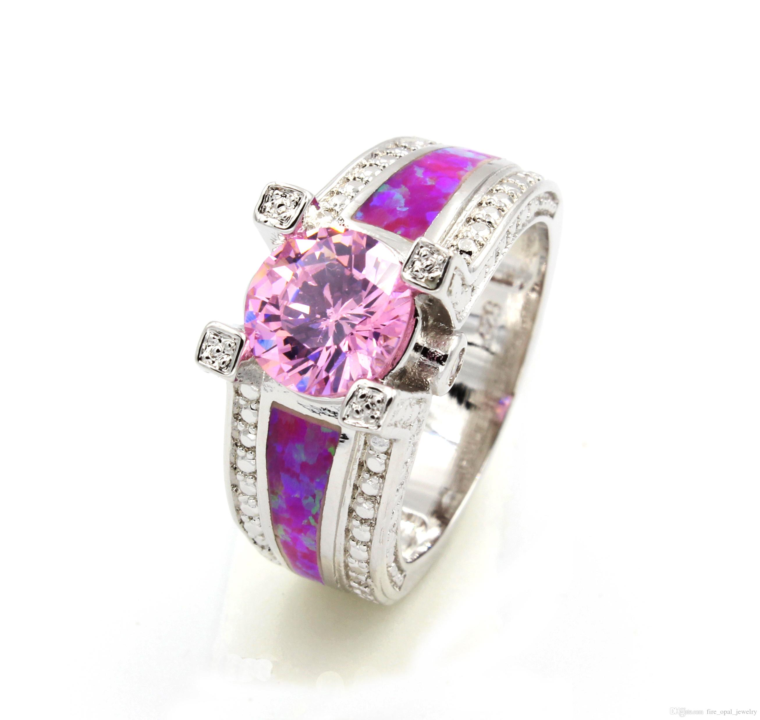 2018 Amazing Pink Fire Opal Wedding Rings Usa Size 7 8 9 From