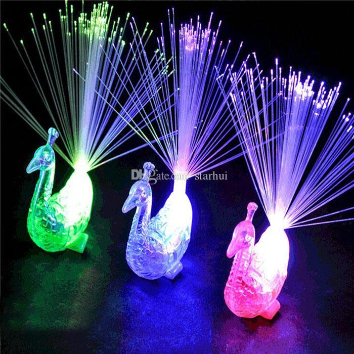 Светодиодные красочные Павлин волоконно-оптический палец огни колец ночник мигающий ночник игрушки Рождественская вечеринка ночные огни WX-T38