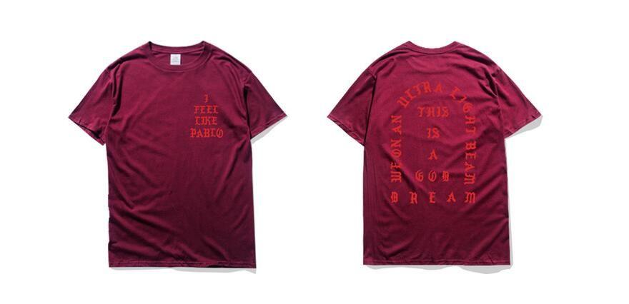 Mens T Shirt Saison 3 Ich fühle mich wie Pablo T-Shirt Kurzarm O-Ansatz T-Shirt Kanye West Brief Print Sportwear