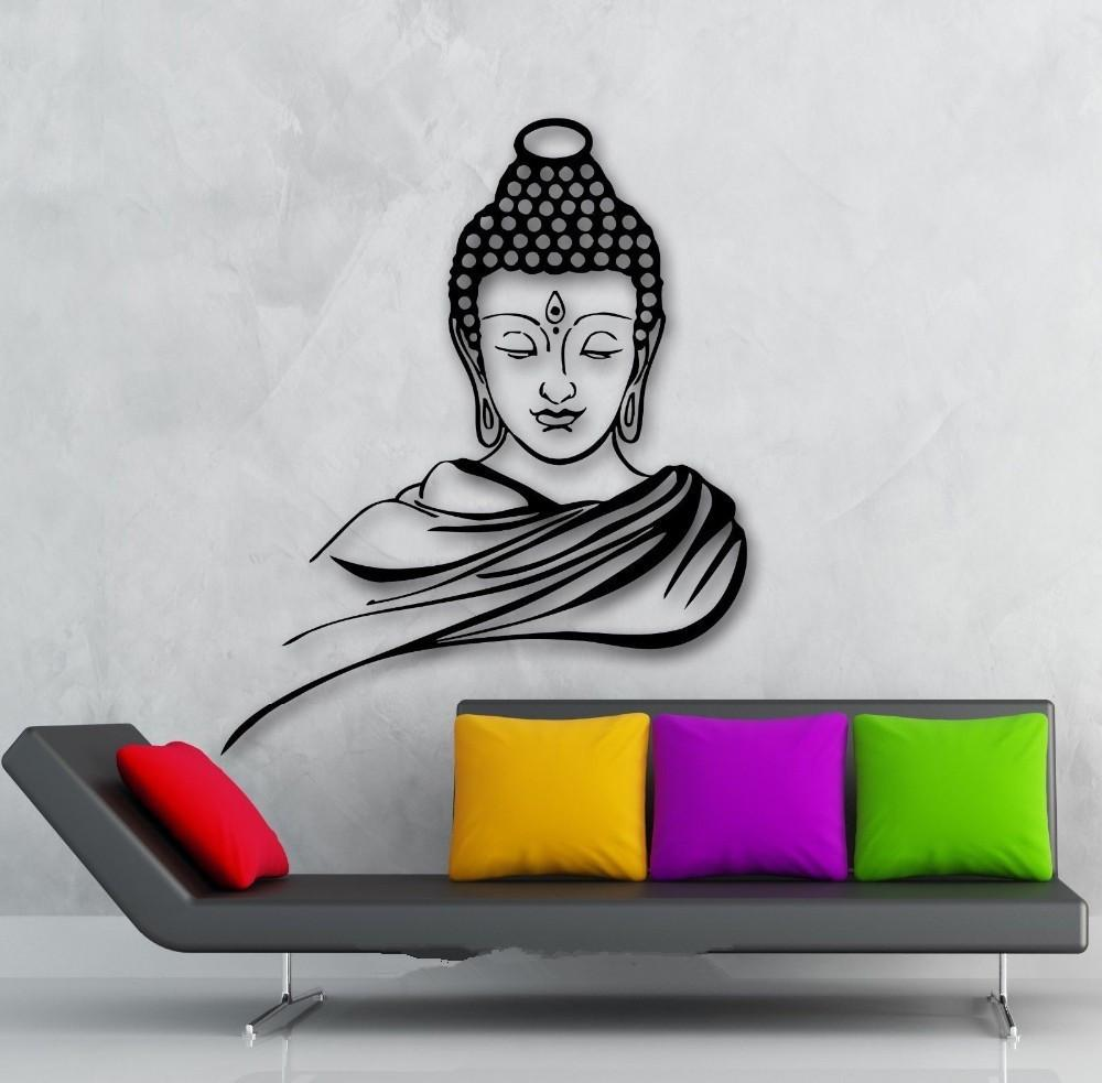 3d poster classic religion buddhism buddha meditation wall sticker decal vinyl removable wall. Black Bedroom Furniture Sets. Home Design Ideas