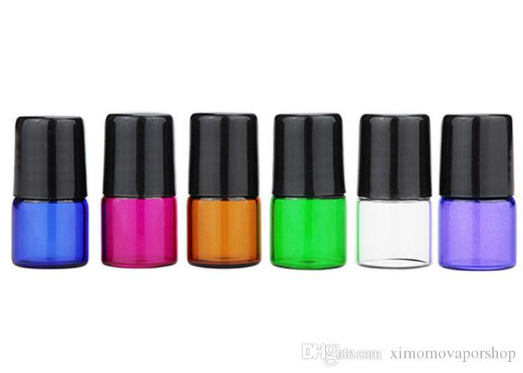 1 ml Amber Clear Purple Green Blue Red Essential Oil Butelki Rolki Gorąca Sprzedaż Małe szklane Pojemnik 1CC z metalową kulą Czapka Czapka DHL