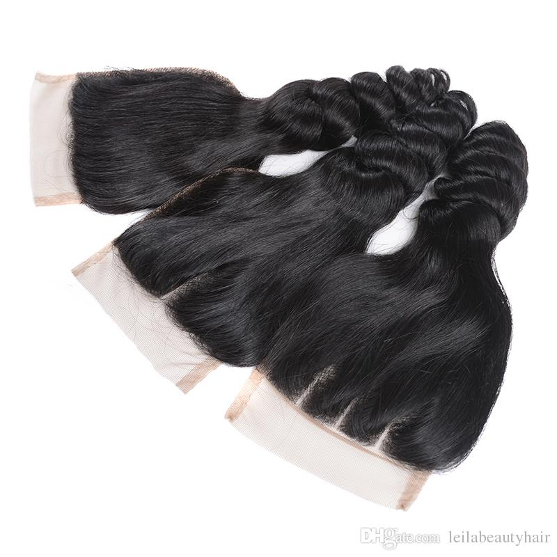 Venta al por mayor Sin procesar Virginal del pelo del cordón del cordón 4x4 extensión del pelo de Malasia armadura del pelo humano Onda del cuerpo medio libre de tres partes