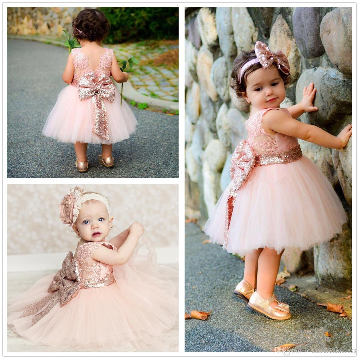 1cd76b812e4 ... Christening Dresses Sequins Knee Length Tutu Flower Girl Dresses Big Bow  Cute Birthday Party Dresses Mother Of The Groom Dresses Semi Formal Dresses  ...