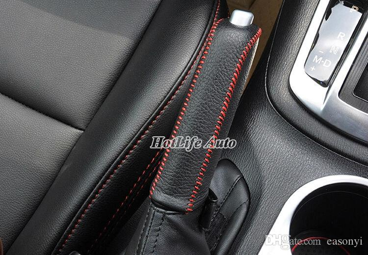 2014 Vauxhall Opel Astra J Car Gear Shift Collars Hand-stitched Leather Gear Shift Knob Handbrake Cover Car Styling Accessories