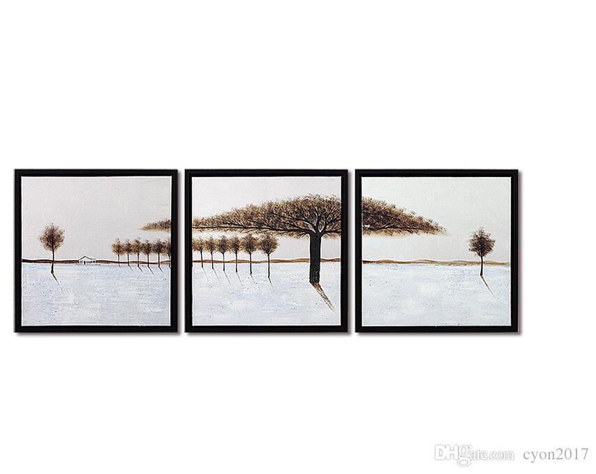 3 Peça Frete Grátis Pintados À Mão Moderna Arte Da Parede Decoração de Casa Neve Fir Tree Living Room Pintura A Óleo Fotos na Lona