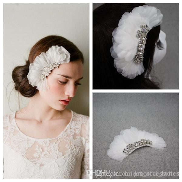 White Flower Petals Tiaras Hair Accessories For Brides Wedding
