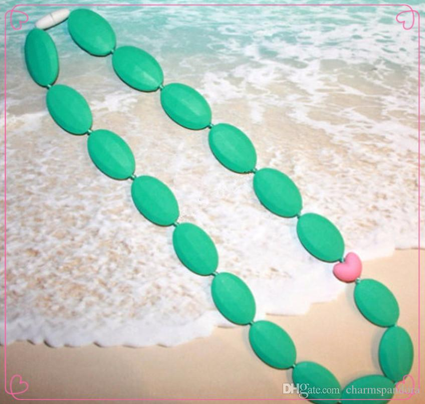 Oval Bead/Love Bead Silicone Teething Necklace for Mommy! BPA Free, FDA Approved Food-Grade Silicone! Perfect Baby Shower or New Mom Gift!