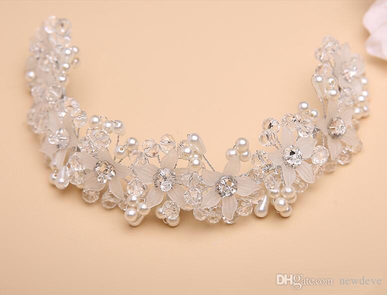 Kesinlikle Muhteşem Çiçek Kız Kafa Adet Kristal Kids 'Aksesuarları Düğün Için Inci Kızlar Stokta Stokta Giymek