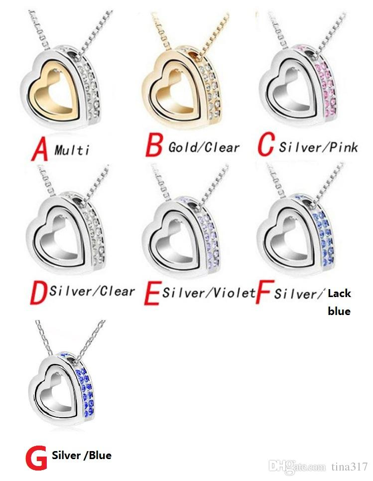 Double Heart Crystal Pendant Necklace 2016 Brand New Love Pendent Necklace Elements Crystal Pendant Necklaces women jewelry 2337-5