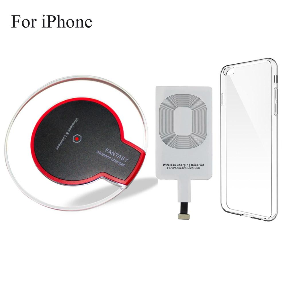 new style e093c 88532 Qi Wireless Charger Charging Pad For Apple iPhone 5 / 5s SE 6 / 6s / 7 Plus  8 With Receiver Clear Case Cover