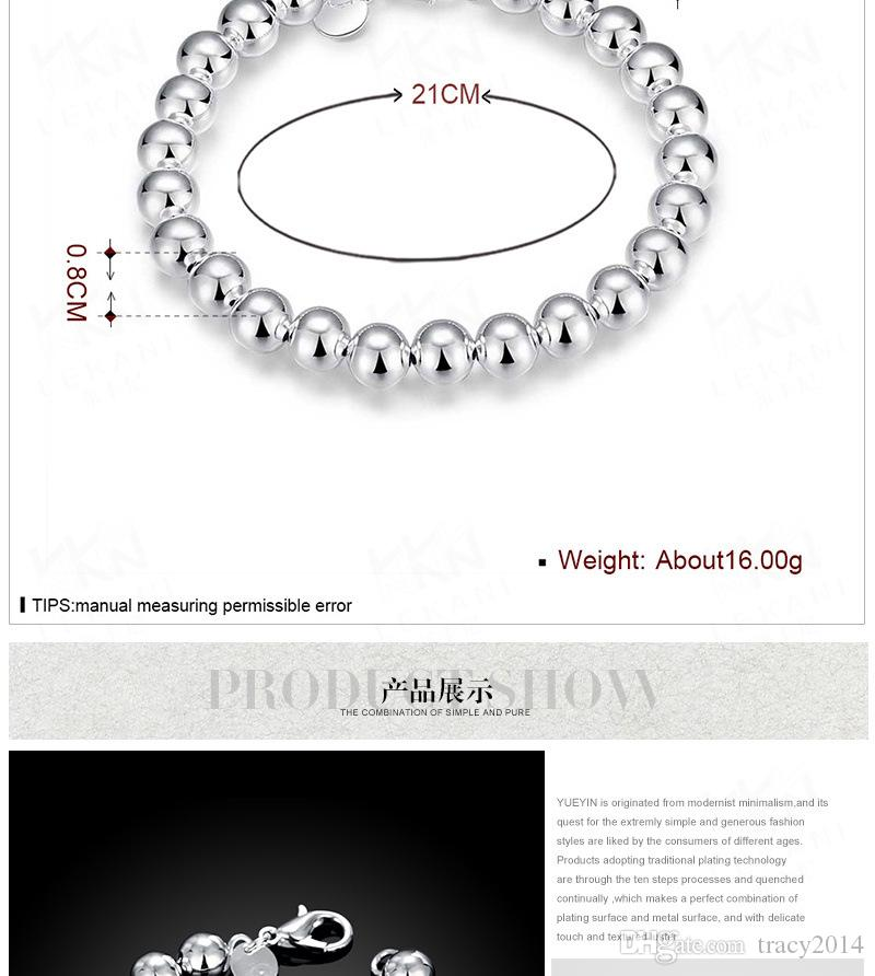 Hot 925 Sterling Silver plated bracelets fashion jewelry charm 8mm bead bracelet with Lobster clasp Christmas gift mother giftFree Shipping