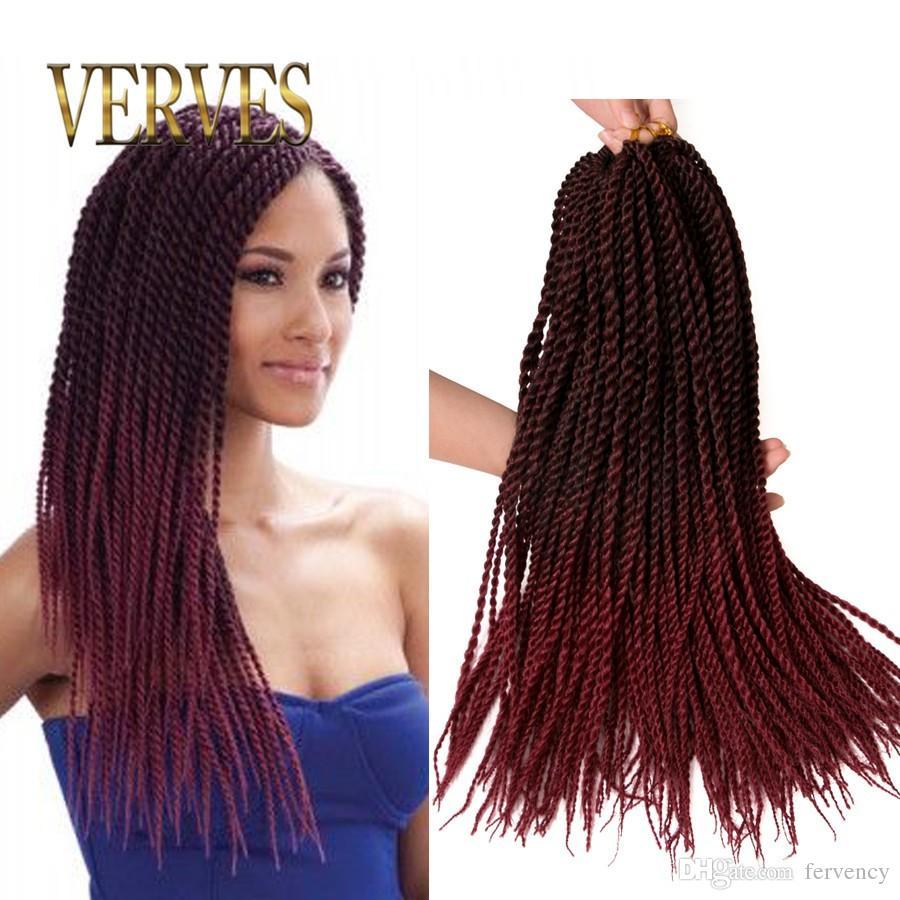 Crotchet Braids Ombre Braiding Hair VERVES Crochet Braids 30 Strands/pack Hair Extensions small Senegalese Twist Hair