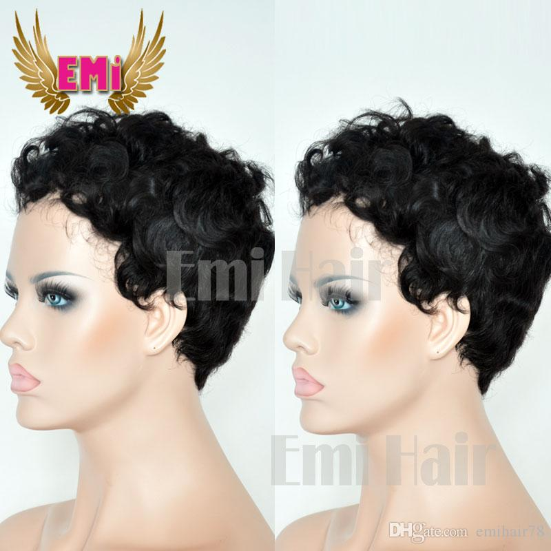 Short Human Hair Wigs Short Curly Hair Wig None Lace Glueless Bob Brazilian Lace  Front Wigs For Black Women Janet Collection Lace Wigs Cancer Wig From ... 9f6ff930d