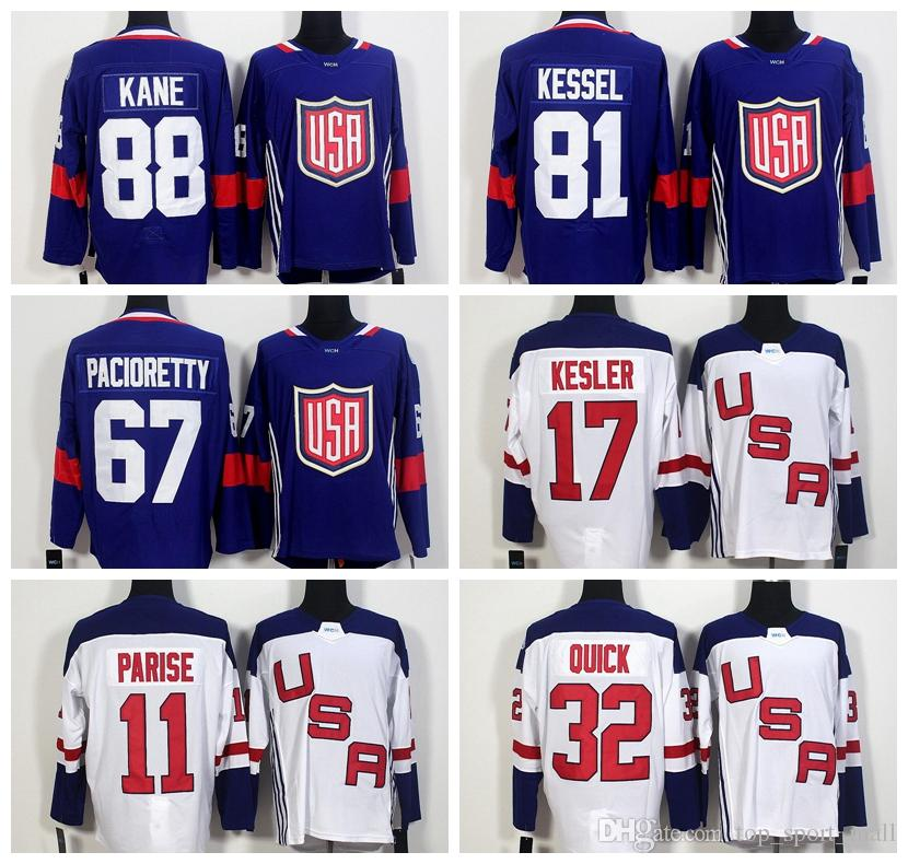 ffcf94e6fcb 2019 World Cup 2016 Team USA Hockey Jerseys US 11 Zach Parise 88 Patrick  Kane 81 Phil Kessel 32 Jonathan Quick 67 Max Pacioretty 17 Ryan Kesler From  ...