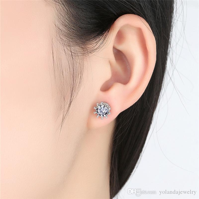 Frauen Täglich Modeschmuck Hohe Qualität Weißes Gold Überzogen CZ Crown Ohrringe Ohrstecker Halskette Set für Mädchen Frauen Nizza Geschenk für Freunde