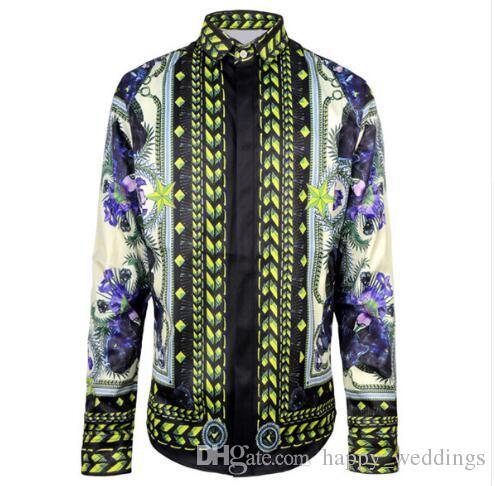 HOT 2017 Automne Harajuku Medusa chaîne en or / Chien Rose chemises d'impression Mode Rétro floral pull Hommes à manches longues chemises