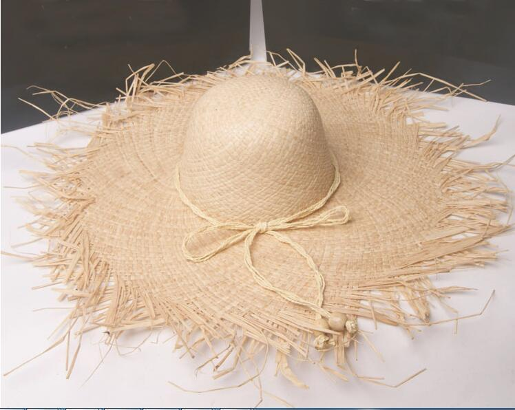 Wholesale Women Unfinished Wide Brim Raffia Straw Hats Women Plain Natural  Large Beach Summer Sun Caps Big Straw Cap Wholesale Kentucky Derby Hats  Trucker ... 40c63e847eab