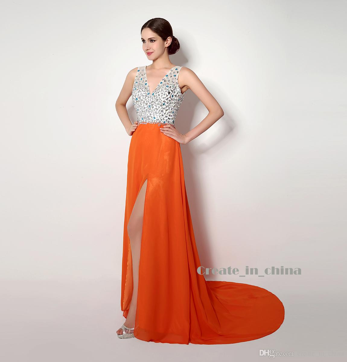 Party Dresses V-neck Split front Silver and Orange Hit Long Skirt Blakless Stain Wedding dresses In Stock Dresses Purple Bridal Real Photo