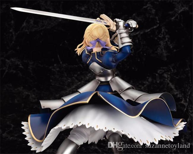 Suzannetoyland Wholesale sexy girl 25cm Anime Fate Stay Night Saber Lily Excalibur PVC Action Figure Model Collection
