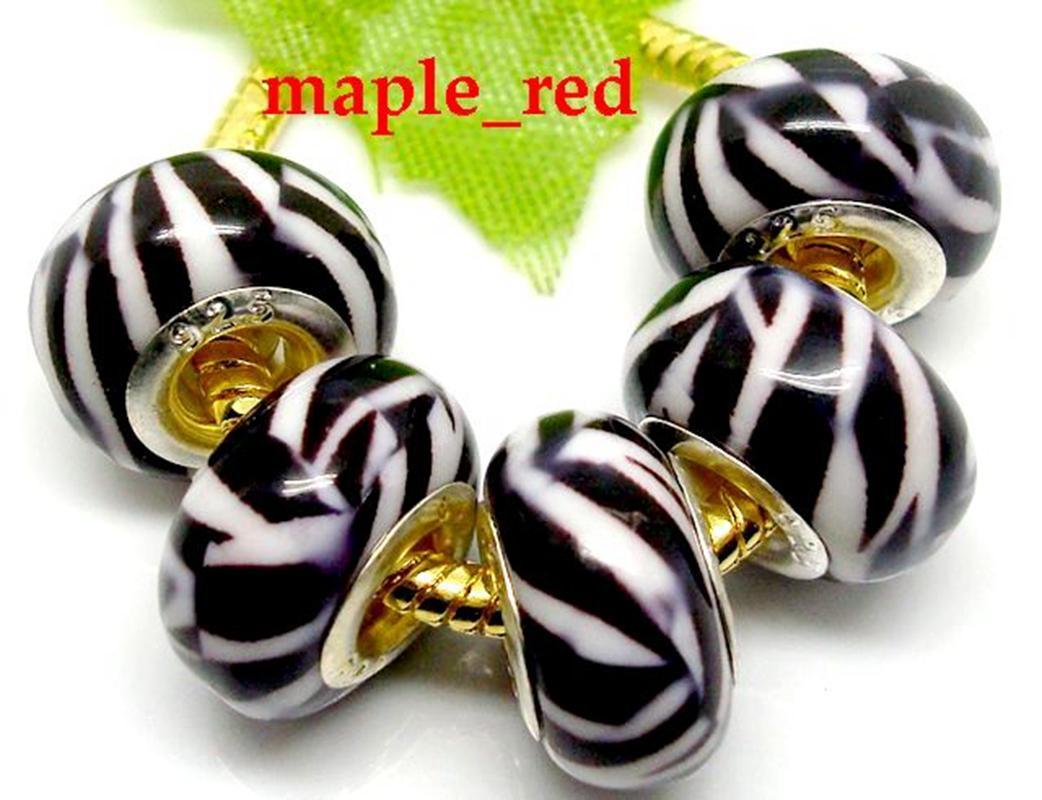 I branelli europei di fascini della resina della zebra / adattano il prezzo basso del braccialetto e della collana europei