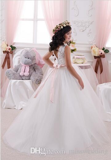 Prinzessin Ballkleid Weiß Tüll Mädchen Kleider für Hochzeiten 2017 Sommer Kollektion angepasst Erstkommunion Kleid Kleid