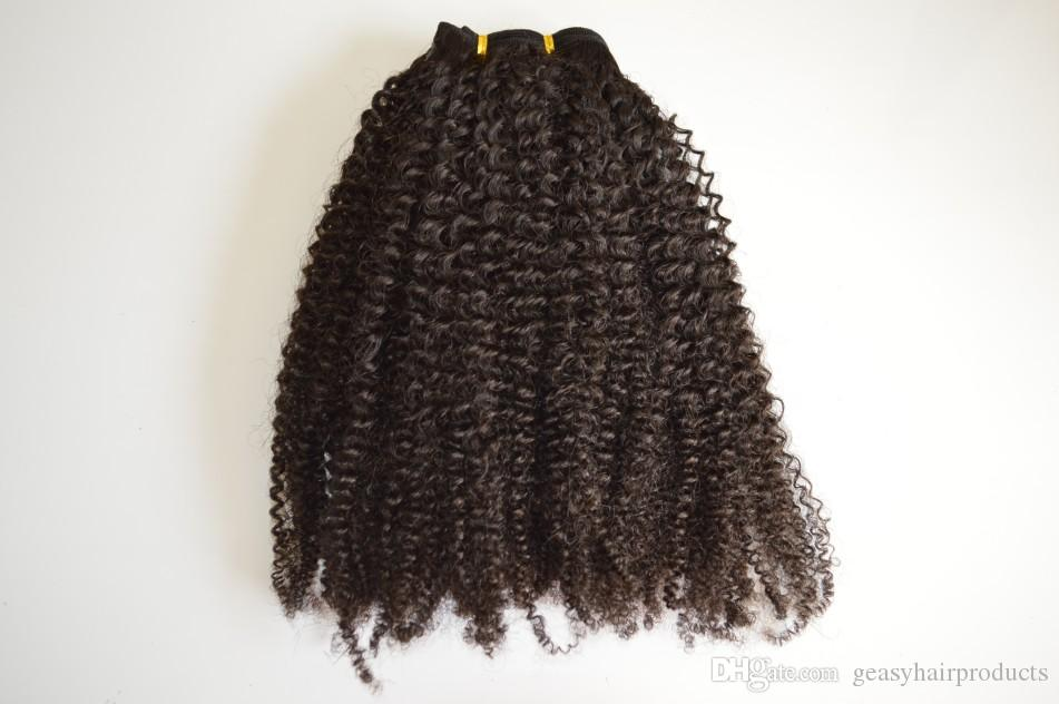 Virgin Indian Clip In Human Hair Extensions Afro Kinky Curly Clip On Hair Extension Natural Color G-EASY