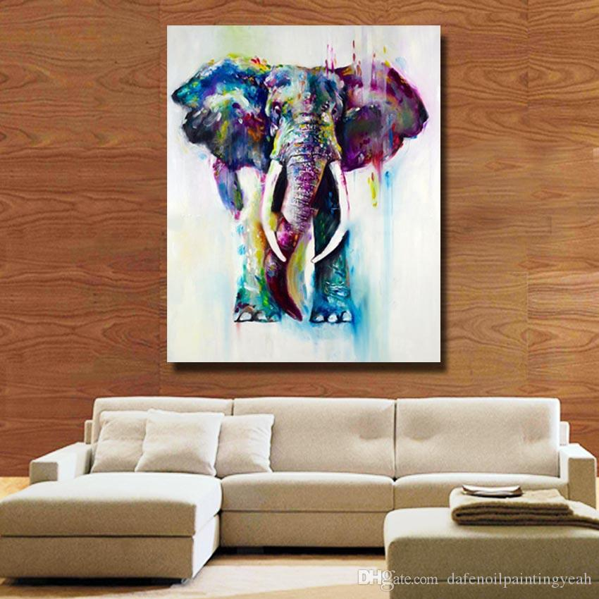2018 1peices Wall Canvas Art Modern Elephant Painting Living Room Wall  Decor Pictures Hand Painted Nice Animal Oil Painting No Framed From ...