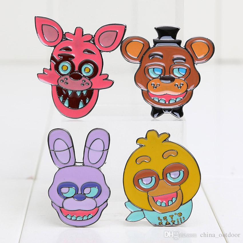 3.5*3.5cm Five Nights at Freddy's brooch FNAF Badges Freddy Bonnie Chica Foxy alloy Pins for Children gift
