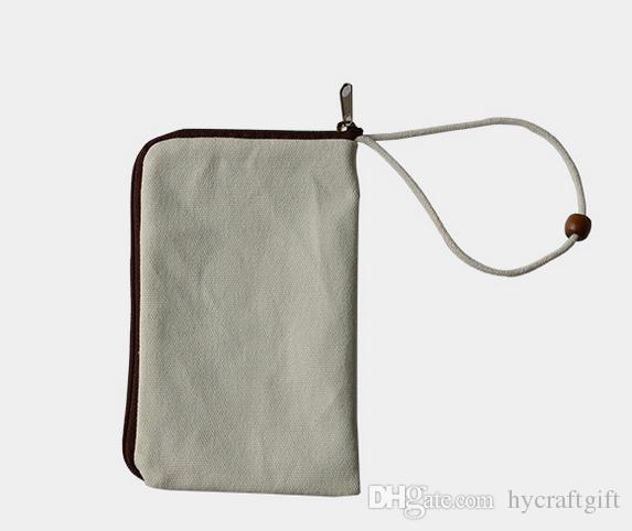 weißes reines Segeltuch-Telefon bauscht sich DIY unbelegtes Reißverschlussverfassungs-Make-upbeutel-Kupplungsorganisator-Beutel Geschenkreisekästen-Bleistiftbeutel mit Handgelenkband