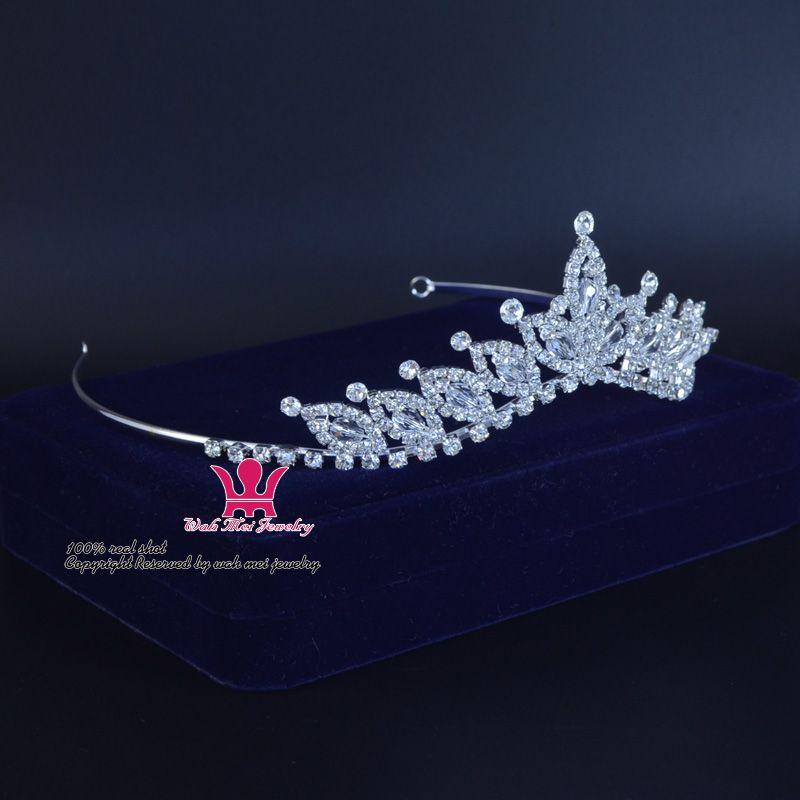 Rhinestone Crystal Bridal Wedding Tiaras Crown Handmade Princess Queen Hair Accessories Headband Clips Flower Pretty Girls Child Tiara Km192