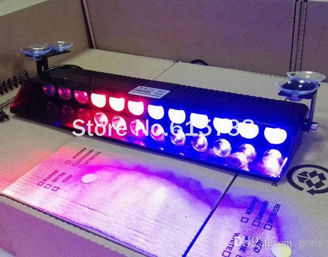 Luces intermitentes de advertencia del coche del parabrisas de alta potencia 24W 12 led lámpara de luz estroboscópica Luz de vehículo de emergencia rojo azul blanco amarillo