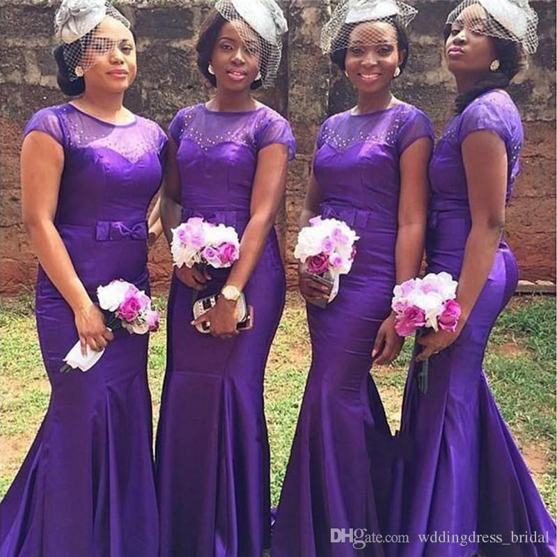 New Purple Beaded Cheap Bridesmaid Dresses 2019 Mermaid African Bridesmaids  Dresses Short Sleeves Sheer Jewel Satin Floor Length Prom Gowns Bridesmaid  ... 056e857a0953