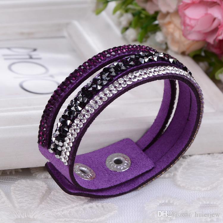 Pulsera con dijes para mujer Nuevas pulseras de abrigo Pulseras de cuero Slake con cristales Precios de descuento de fábrica, Pulsera de cuero
