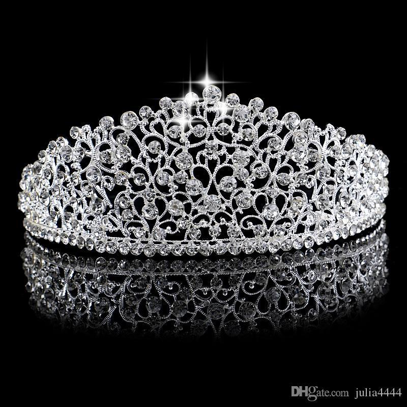 화려한 스파클링 실버 큰 웨딩 Diamante 선발 대회 왕관 헤어 밴드 크리스탈 신부 크라운 신부 파티 선발 대회 머리 보석 투구