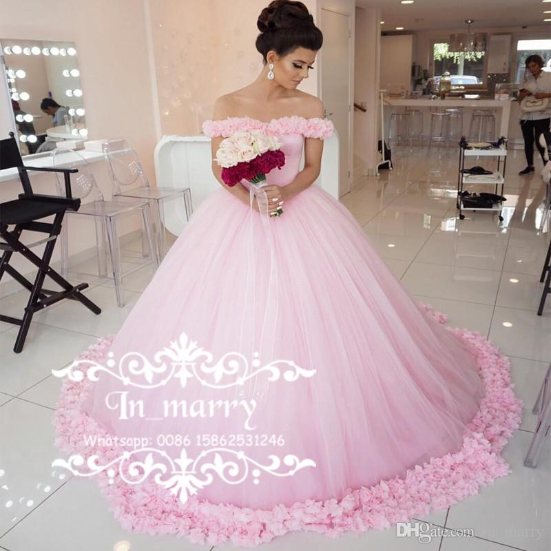 Romantic Pink 3d Floral Cinderella Wedding Dresses 2017 Ball Gown Off Shoulder Plus Size Princess Muslim Arabic Dubai Bridal Vestiso Novia Vintage