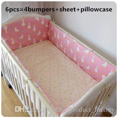 Promotion! 6PCS baby crib bedding set 100% cotton curtain crib bumper baby cot sets (bumpers+sheet+pillow cover)