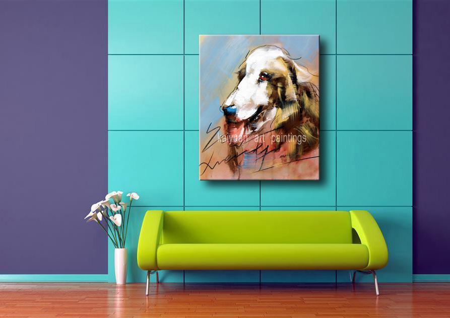 Лучшие картины качество нефти животных расписанного мультфильм собака искусство краска на холсте для украшения стены дома 1шт поддержки Droppshipping