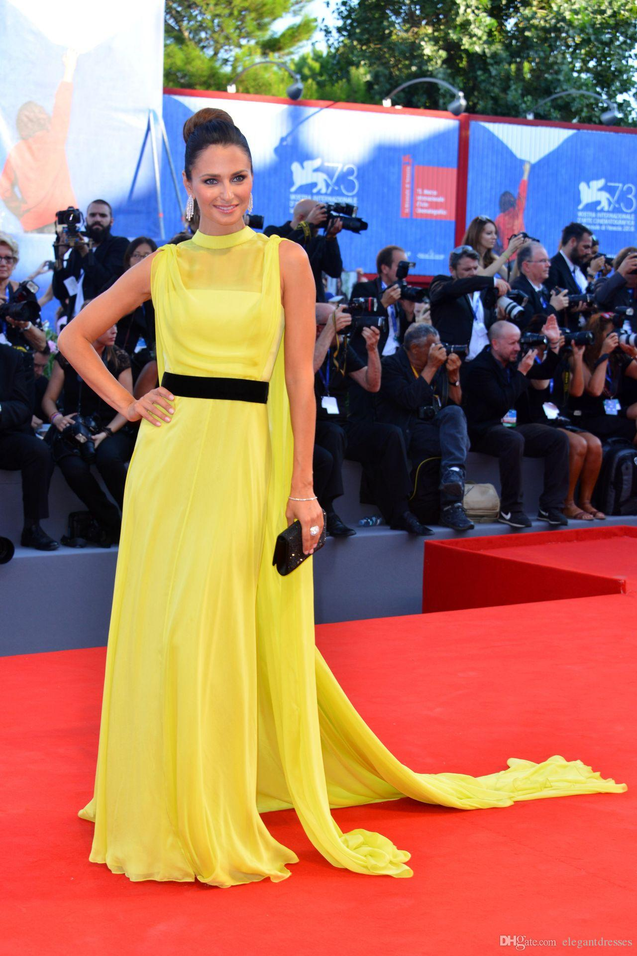 2019 Venice Film Festival Lunghi Chiffon Giallo Party Celebrity Dresses Evening A Line Abiti da sera eleganti
