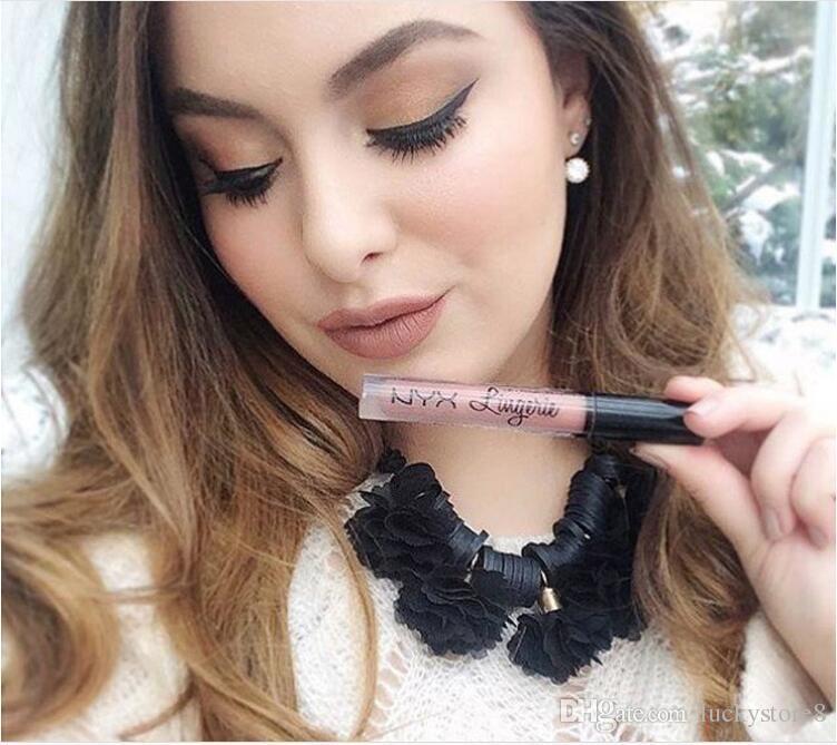 2019 HOT NYX lip lingerie líquido Matte Lip Creme Batom NYX Charme Longo-duração Da Marca de Maquiagem Batons Lip Gloss 12 cores