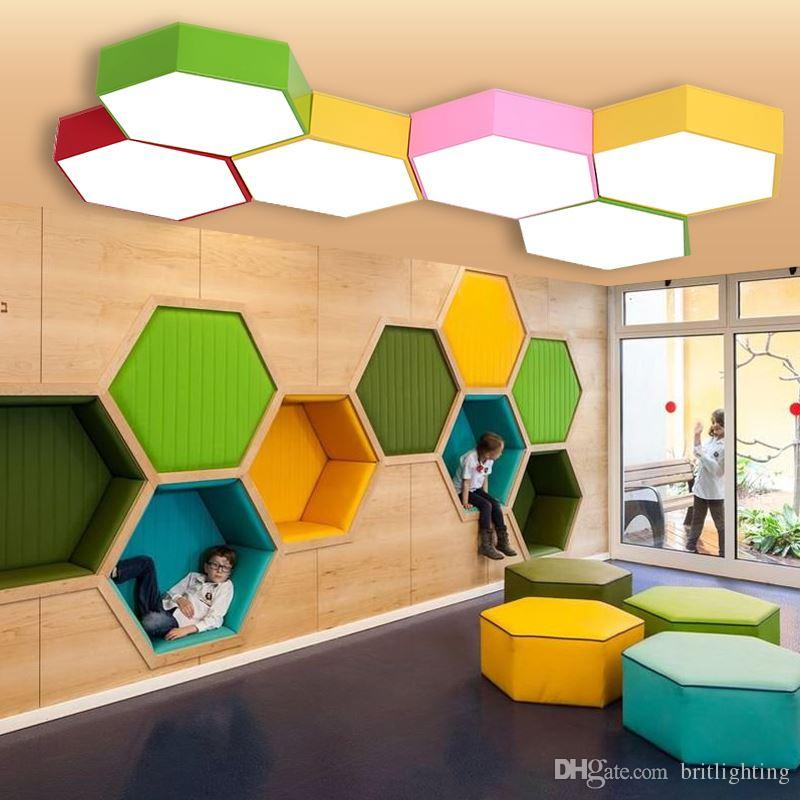 2018 Geometry Creative Color Hexagon Study Led Ceiling